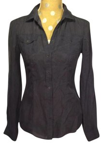 Massimo Dutti Silk Blouse Button Down Shirt Navy