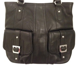 B. Makowsky Leather Soft Organization Tote in Black Satchel