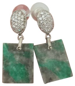 Neiman Marcus Emerald and CZ Drop Earrings