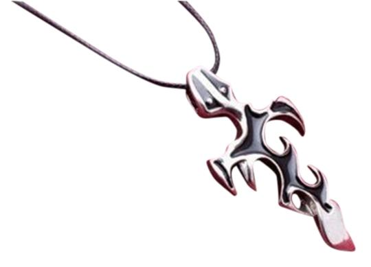 Unknown BOGO Stainless Steel Black Flame Cross Necklace Unisex Free Shipping