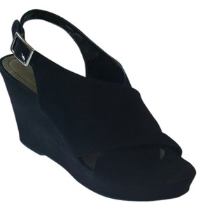 Style & Co Wedge Crisscross Strap Suede Black Wedges