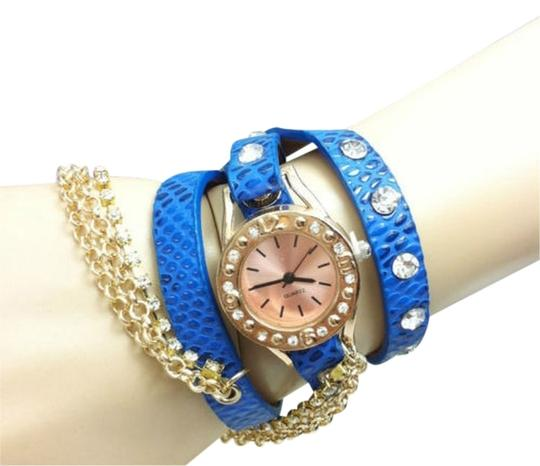 Unknown BOGO Free Blue Rose Gold Wrap Around Watch Free Shipping