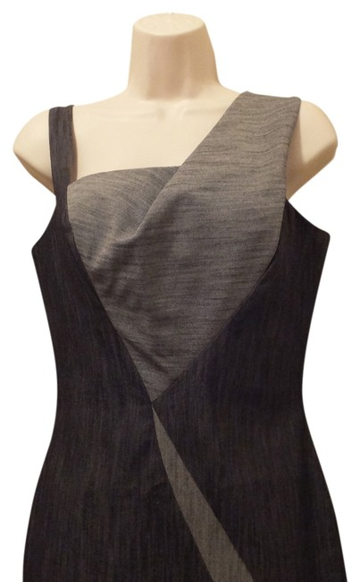Item - Grey Color-block Tank Knee Length Night Out Dress Size 6 (S)