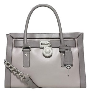 Michael Kors Hamilton Patent Frame East West Soft Leather Satchel in Pearl Gray/Steel Gray