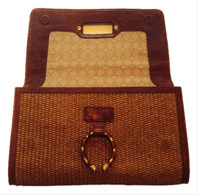 Item - Raffia with Brown Leather Detail Clutch