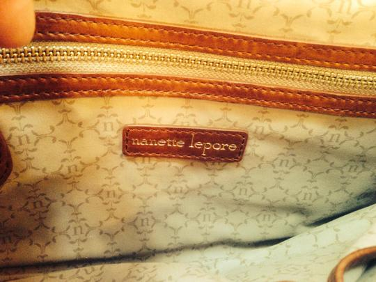 Nanette Lepore Raffia with brown leather Clutch