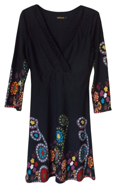 Item - Black with Colorful Fun Design Knee Length Work/Office Dress Size 8 (M)