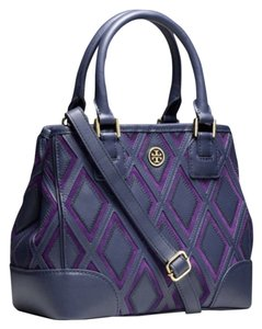 Tory Burch Satchel in Navy Blue/ Purple