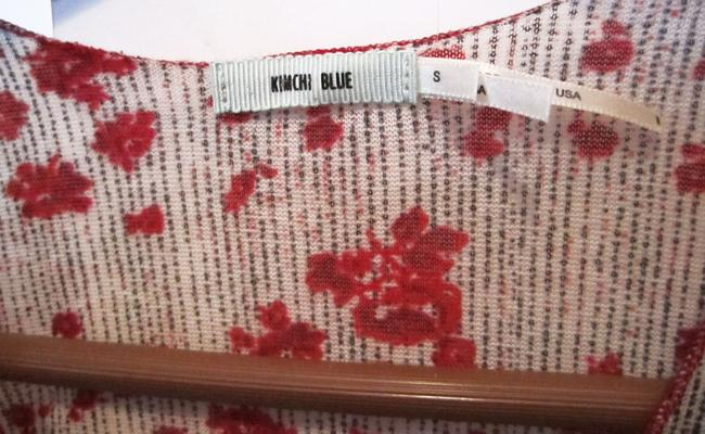 Kimchi Blue Urban Outfitters Lacy Blouse T Shirt Multi, Red and White