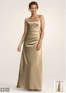 David's Bridal Golden Satin Strapless Rouched Ball Gown F13974 Formal Bridesmaid/Mob Dress Size 10 (M)