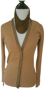 Ann Taylor Gold Mesh Embelished Trim Cardigan