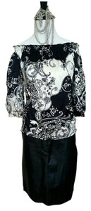 White House | Black Market Silk Office Spring Top black and white