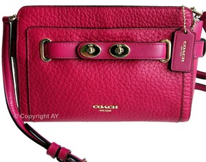 Coach Bubble Leather Clutch Belted Cross Body Bag
