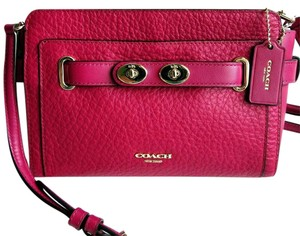Coach Bubble Leather Clutch Belted Turnlock Accents Blake Cross Body Bag