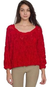 American Apparel Red Rose 3d Mesh Sweater