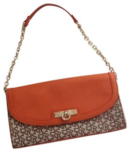 DKNY Chino Orange and Brown Clutch