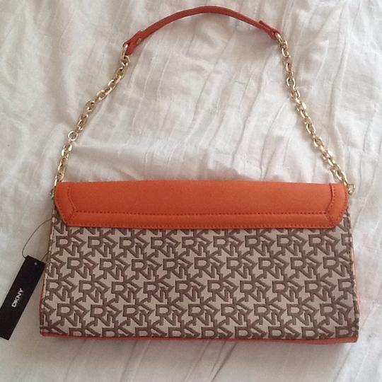 DKNY Chino Orange and Brown Clutch Image 1