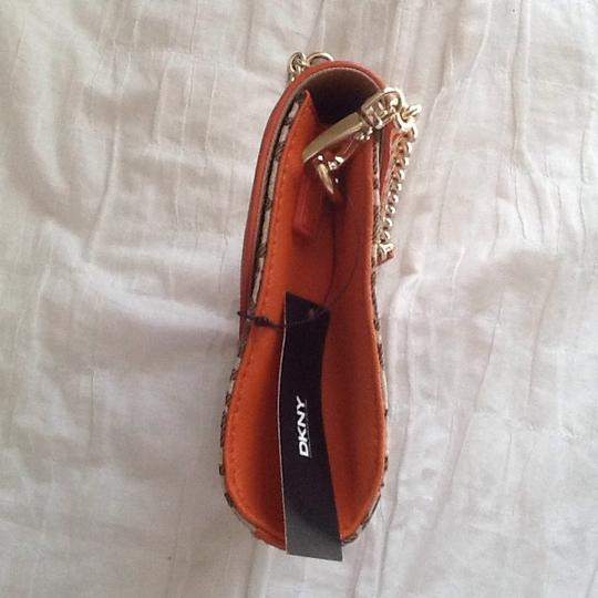 DKNY Chino Orange and Brown Clutch Image 2