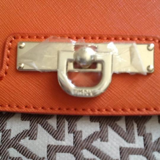 DKNY Chino Orange and Brown Clutch Image 6