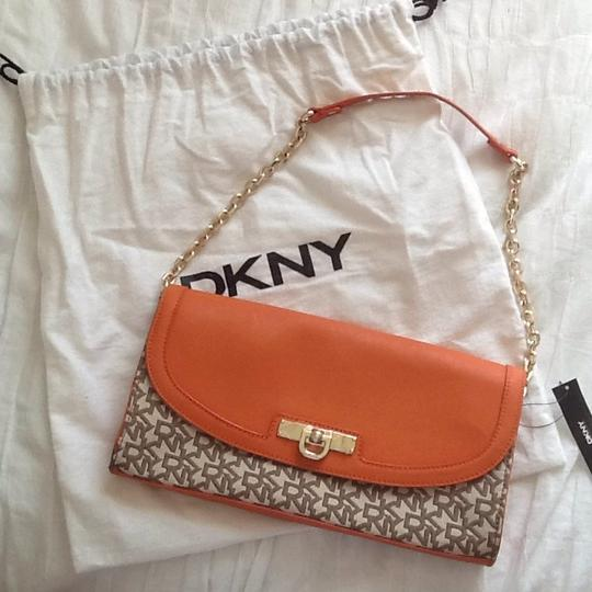 DKNY Chino Orange and Brown Clutch Image 8