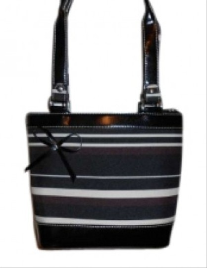 Dress Barn Tote in Black and brown strip