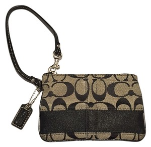 Coach Signature Wristlet in Black and Grey