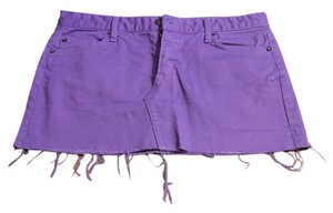 Lux Denim Mini Skirt Light Purple