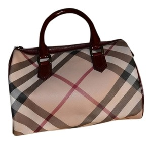 Burberry Satchel in Beige With Dark Red Patent Nova Check