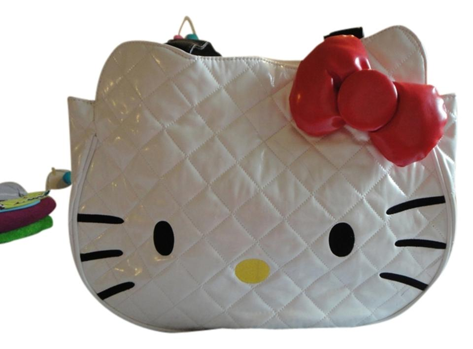 67e87ef4ca96 Loungefly Sanrio Hello Kitty Quilted Face Tote White Black Red Faux Leather  Shoulder Bag