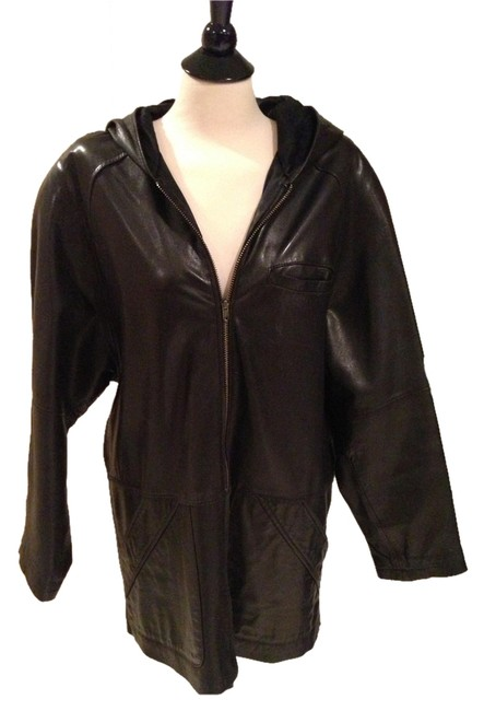 Tannery West Leather Hooded Zip-up Coat
