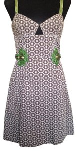 Carolina Herrera Embellished Embroidered A-line Sleeveless Silk Lining Dress