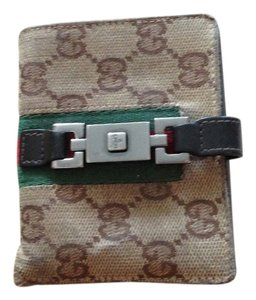 Gucci Gucci Canvas Wallet with Leather & Silver Hardware