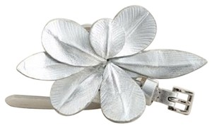 J.Crew Silver Skinny Belt with Flower Detail