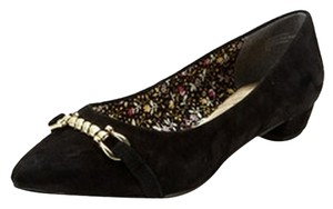 Seychelles Sued Suede Chain Pointed Toe Black Flats