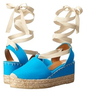 Ralph Lauren Collection New Women Spadrilles Lace Up Blue Wedges