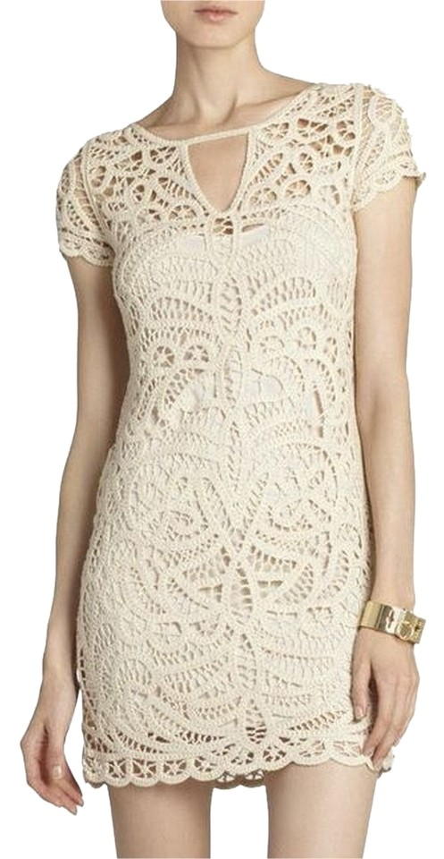 f7b060855fc BCBGMAXAZRIA Cream   Off White Bcbg Lalinda Lace Crochet Medium Cocktail  Dress