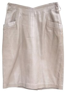 Gingette Leather Pencil Vintage Skirt Champagne/Tan