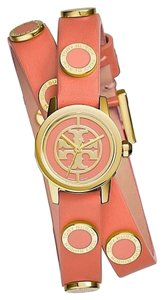 Tory Burch Tory Burch 'Reva Mini' Logo Dial Double Wrap Leather Strap Watch, 21mm