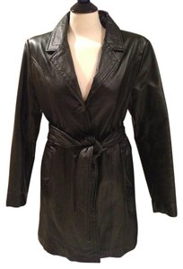 Metro Style Leather Belted Trench Trench Coat