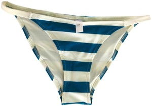 Solid & Striped Solid & Striped Teal Blue & Cream Thick Stripe Bikini, Bottom Only