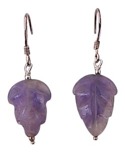 Other Sterling Silver Amethyst Leaf Dangling Earrings (#5)