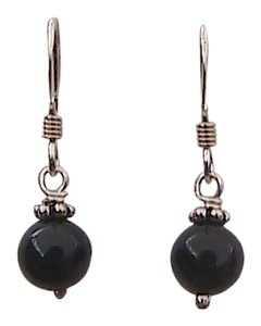 Other Sterling Silver Black Onyx Dangling Earrings (#7)