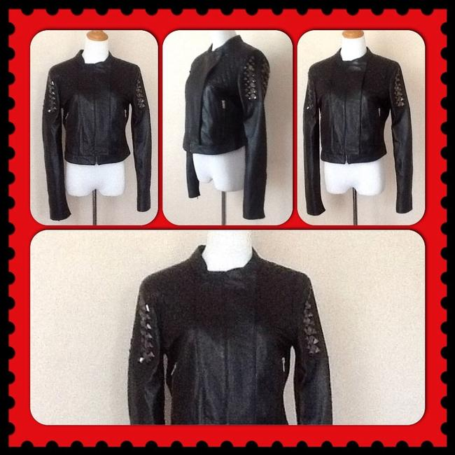 BCBGMAXAZRIA Studded Leather Motorcycle Jacket