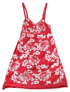 short dress Orange/Red with floral print Summer Beach on Tradesy