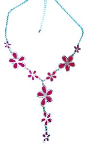 Mixit Mixit Pink Passion Flower Drop Necklace adjustable length