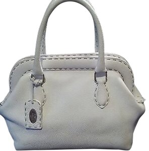Fendi Handbag Leather Satchel in White
