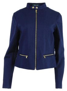 Lauren Ralph Lauren Ponte Fabric Crop Zipper Detail Blue Jacket