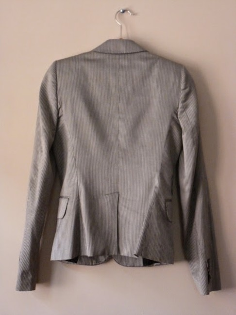 CoSTUME NATIONAL Fitted Silky Blazer Button Down Shirt Light grey/striped