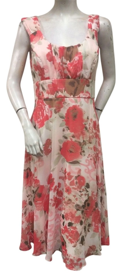 221086c46ae Connected Apparel Pink Floral Print Chiffon A Line Tea Mid-length ...