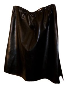 Susan Graver Faux Leather Skirt Black
